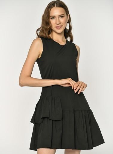 Loves You Parça Detaylı Kolsuz Poplin Elbise Siyah